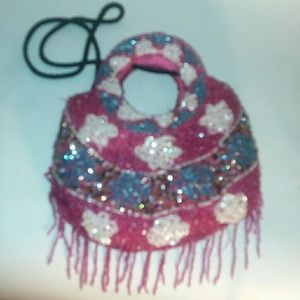Very cute pink white and blue floral beaded purse